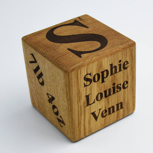 Personalised Solid Oak New Baby Birth Cube