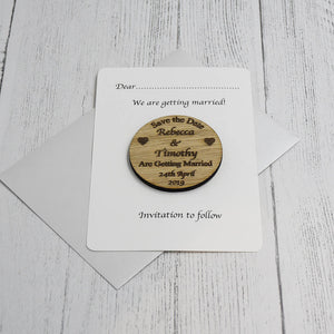 Personalised Save the Date Circle Magnet Invitation