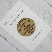 Load image into Gallery viewer, Personalised Save the Date Circle Magnet Invitation