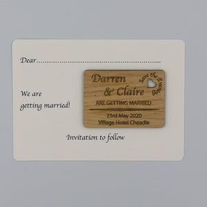 Personalised Wooden Engraved Save The Evening Card