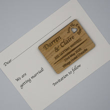 Load image into Gallery viewer, Personalised Wooden Engraved Save The Evening Card