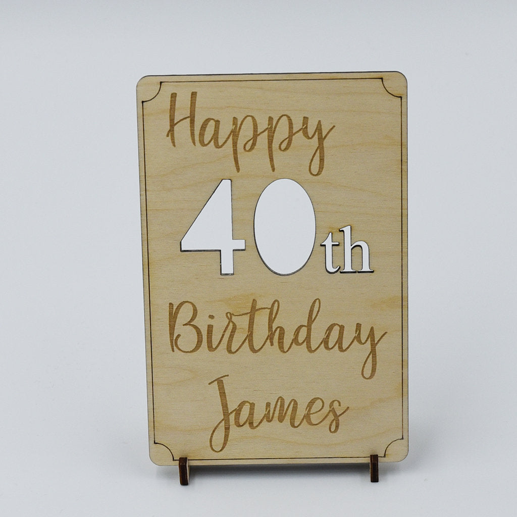 Personalised Happy 40th Birthday Wooden Postcard