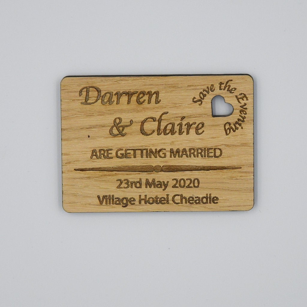 Personalised Rustic Save the Evening Magnet