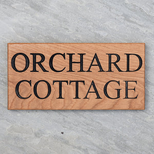 Traditional Large Solid Oak House Sign