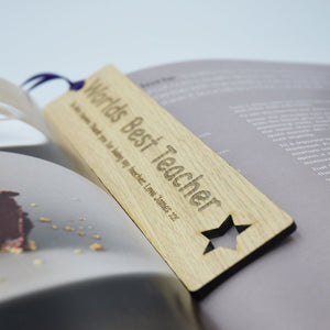 Personalised Teacher Gift Wooden Bookmark