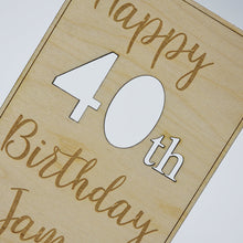 Load image into Gallery viewer, Personalised Happy 40th Birthday Wooden Postcard