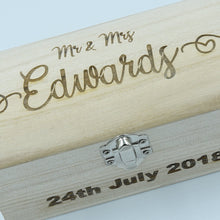 Load image into Gallery viewer, Personalised Small Wooden Treasure Keepsake Chest
