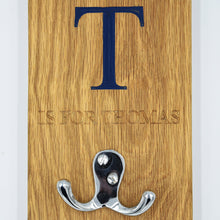 Load image into Gallery viewer, Personalised Solid Oak Children's Coat Hook