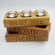 Load image into Gallery viewer, Solid Oak Tea Light Holder with Glass Insert