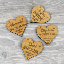 Load image into Gallery viewer, Personalised Wedding Party Wooden Heart Hanger Charms