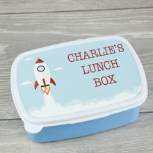 Load image into Gallery viewer, Child's Personalised Rocket Design Lunch Box