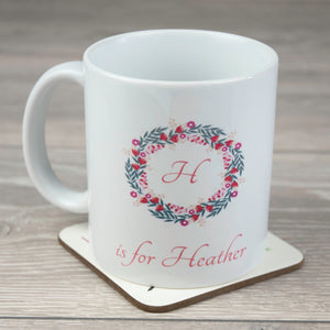 Personalised Initial Ceramic Mug with Floral Wreath