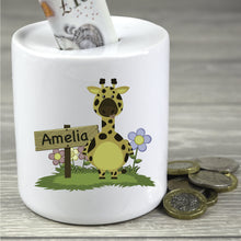 Load image into Gallery viewer, Personalised Children's Giraffe Design Money Box