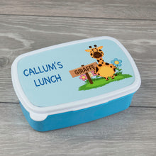 Load image into Gallery viewer, Child's Personalised Giraffe Design Lunch Box