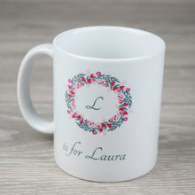 Load image into Gallery viewer, Personalised Initial Ceramic Mug with Floral Wreath