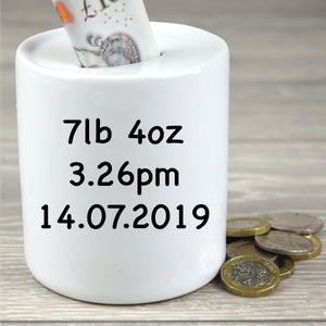 Personalised Children's Giraffe Design Money Box