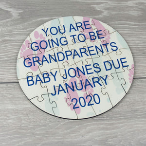 Personalised Baby Reveal Round Photo Puzzle