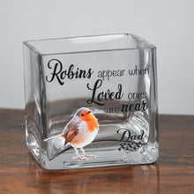 Load image into Gallery viewer, Personalised Robin Memorial Glass Tea Light Holder