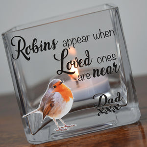 Personalised Robin Memorial Glass Tea Light Holder