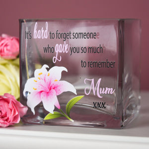 Personalised Lily Memorial Glass Tea Light Holder