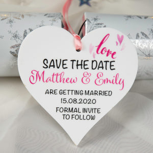 Personalised Save The Date Hanging Heart