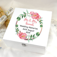 Load image into Gallery viewer, Personalised Large Wedding Keepsake Floral Wreath Wooden Box