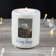 Load image into Gallery viewer, Personalised Ceramic Photo Memorial Tea Light Holder