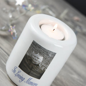 Personalised Ceramic Photo Memorial Tea Light Holder