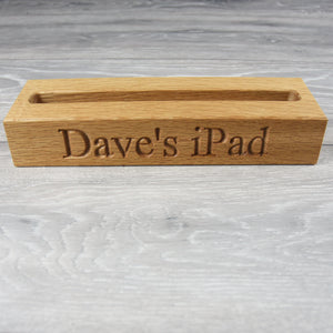 Personalised Solid Oak iPad or Tablet Holder/ Stand