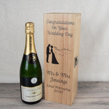 Load image into Gallery viewer, Personalised Bride and Groom Wooden Wine  Bottle Box