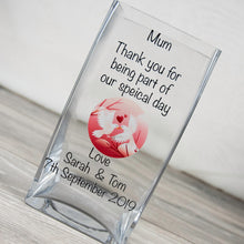 Load image into Gallery viewer, Personalised Thank You Wedding Glass Vase