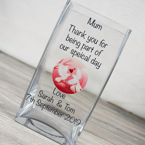 Personalised Thank You Wedding Glass Vase