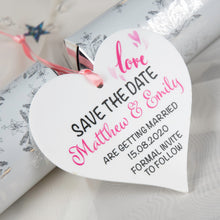 Load image into Gallery viewer, Personalised Save The Date Hanging Heart