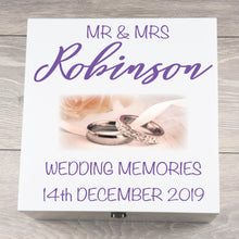 Load image into Gallery viewer, Personalised Large Ring Design Wedding Keepsake Box