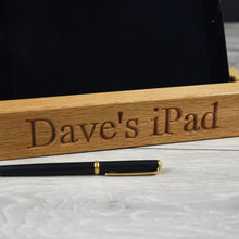Load image into Gallery viewer, Personalised Solid Oak iPad or Tablet Holder/ Stand