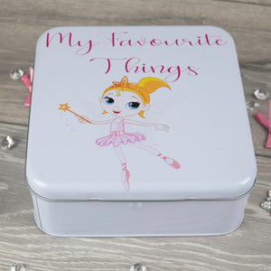 Personalised Ballerina Metal Storage Tin