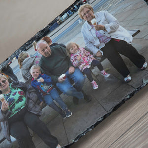 Large Personalised Natural Rock Slate Custom Photo With Stands