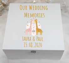 Load image into Gallery viewer, Personalised Large Wedding Memories Cute Giraffe Wooden Box