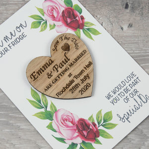 Personalised Wooden Heart Save The Date Rose Card