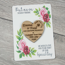 Load image into Gallery viewer, Personalised Wooden Heart Save The Date Rose Card