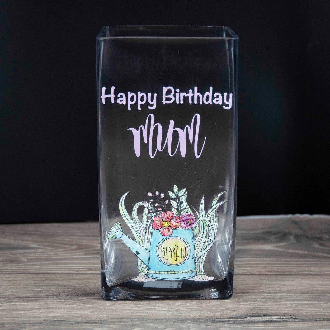 Personalised Happy Birthday Spring Flowers Glass Vase