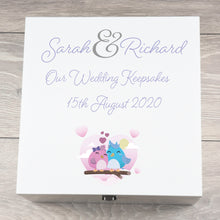 Load image into Gallery viewer, Personalised Large Wedding Keepsake Box Owl Design