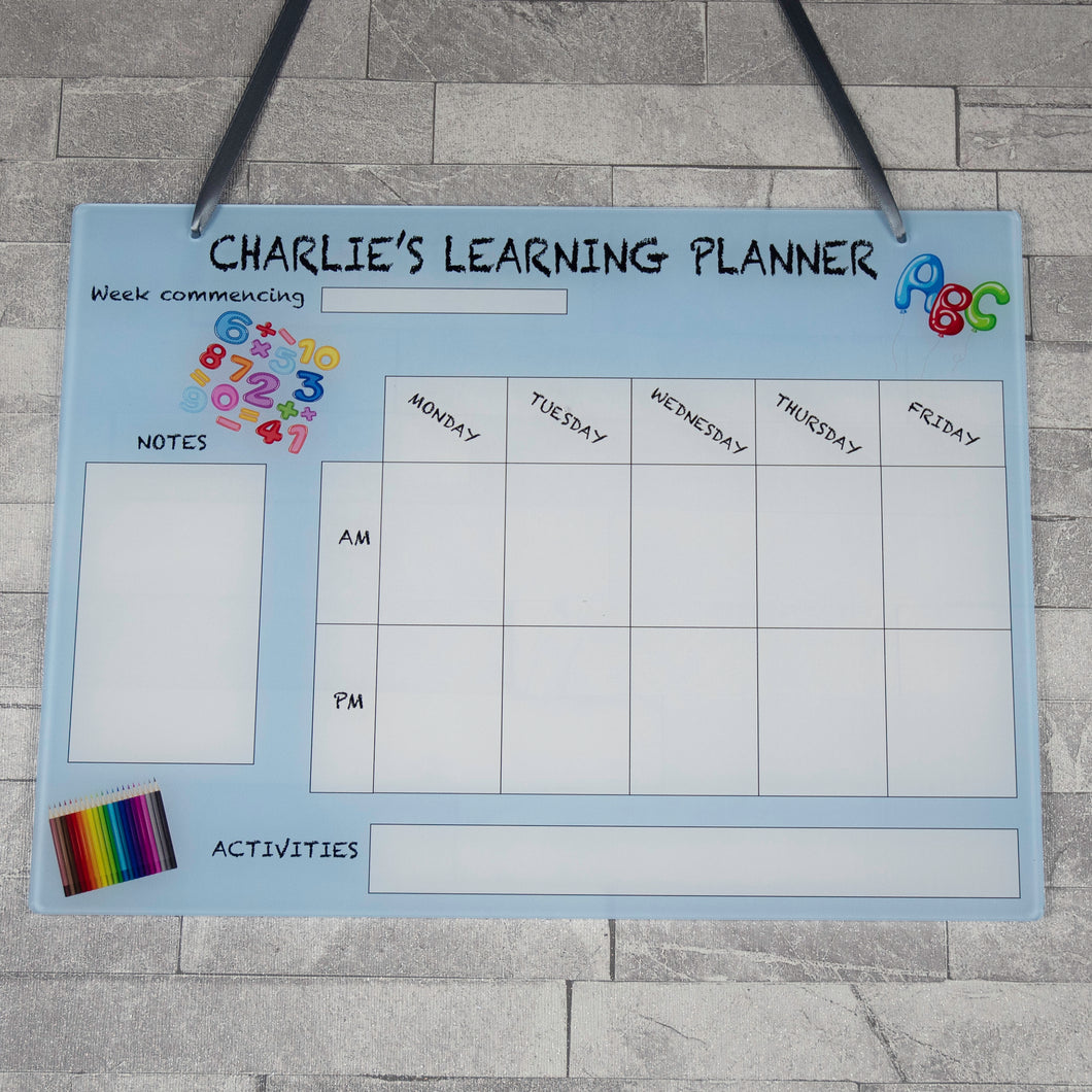 Personalised Large Acrylic Home School Learning Hanging Planner