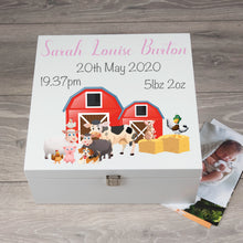 Load image into Gallery viewer, Personalised Large Farm Animal Memory Keepsake Box