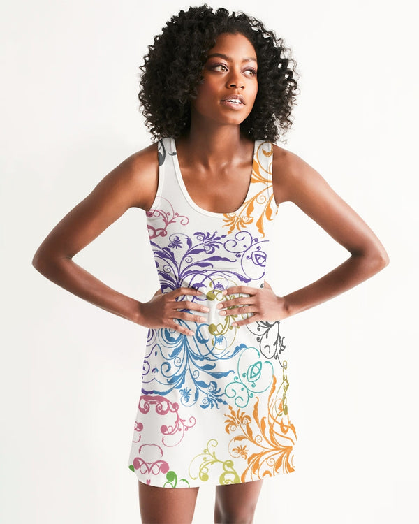 Abstract-floral Women's Racerback Dress - Pets Tee Shirt Store