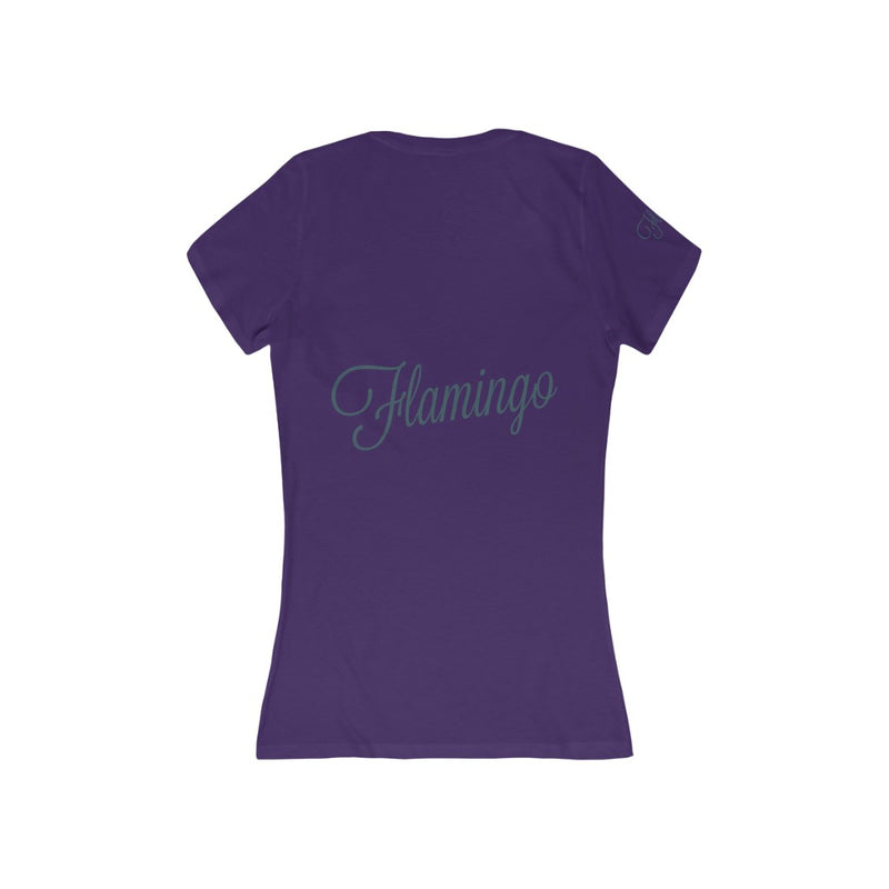 Flamingo Women's Jersey Short Sleeve V-Neck Tee Shirt - Pets Tee Shirt Store