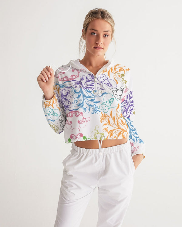 Abstract-floral Women's Cropped Windbreaker - Pets Tee Shirt Store