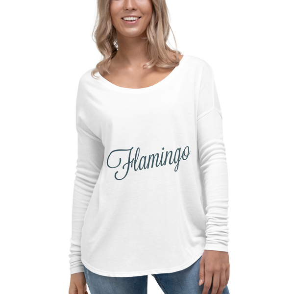 Ladies' Flamingo Long Sleeve Tee - Pets Tee Shirt Store
