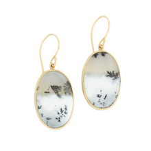 Load image into Gallery viewer, Sterling & 14K Gold Dendritic Opal Earrings