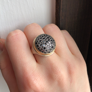 Sterling & 14K Gold 1.5 TCW Black Diamond Pave Ring